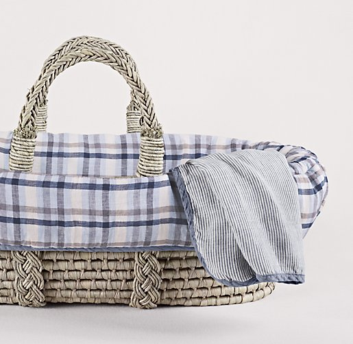 Washed Linen Plaid Moses Basket Bedding & Ash Basket Set