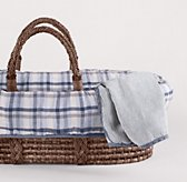 Washed Linen Plaid Moses Basket Bedding & Espresso Basket Set