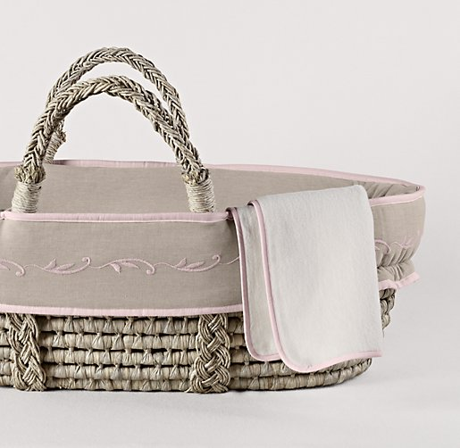 Embroidered Trellis Moses Basket Bedding & Ash Basket Set