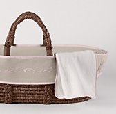 Embroidered Trellis Moses Basket Bedding & Espresso Basket Set
