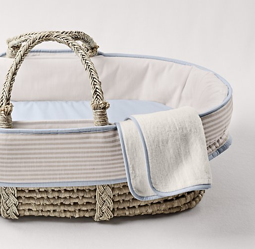Flax Stripe Moses Basket Bedding