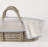 Flax Stripe Moses Basket Bedding & Ash Basket Set