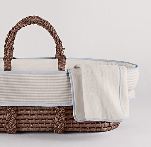 Flax Stripe Moses Basket Bedding & Espresso Basket Set