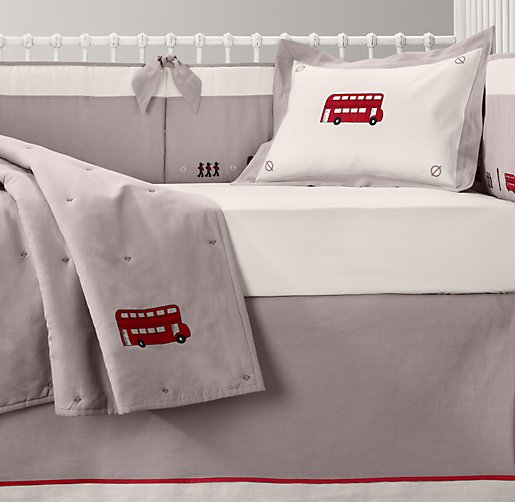 Embroidered London Landmark & European Vintage Washed Percale Nursery Bedding Collection