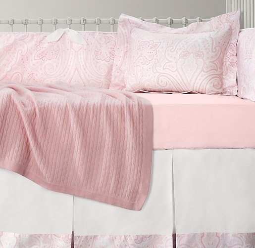 Italian Washed Sateen Paisley & Italian Washed Sateen Bordered Nursery Bedding Collection