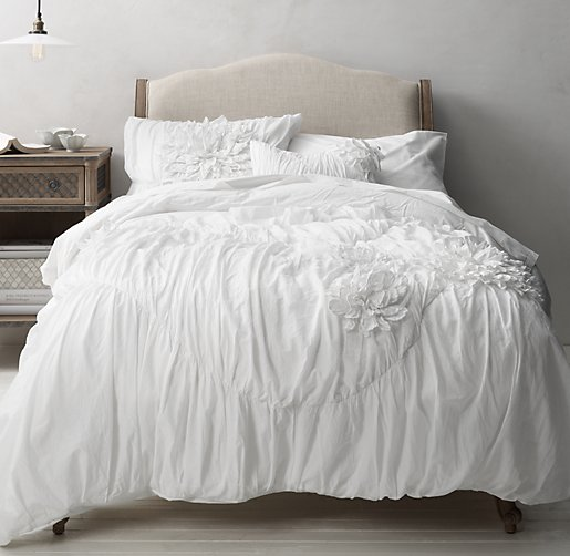 Washed Appliquéd Fleur & European Vintage-Washed Percale Bedding Collection