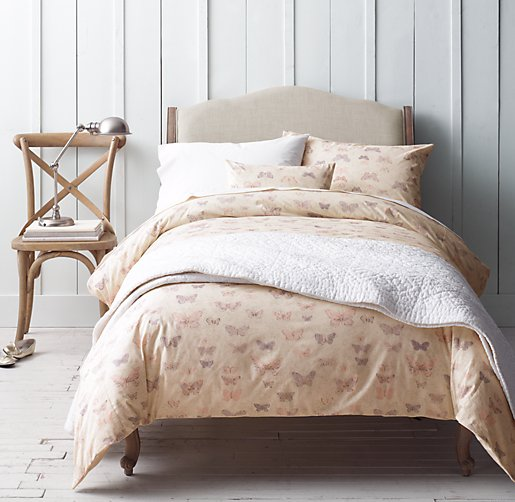 Vintage Butterfly & European Vintage-Washed Percale Bedding Collection