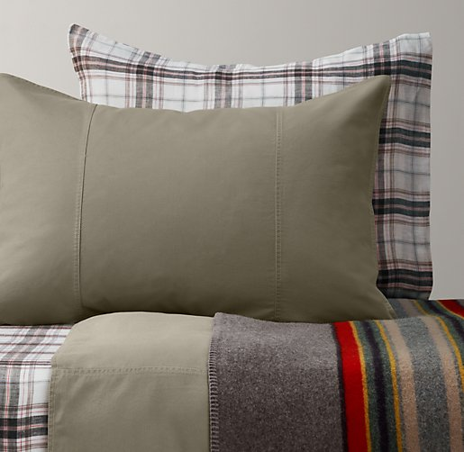 Tumble-Washed Twill & Washed Windowpane Plaid Bedding Collection