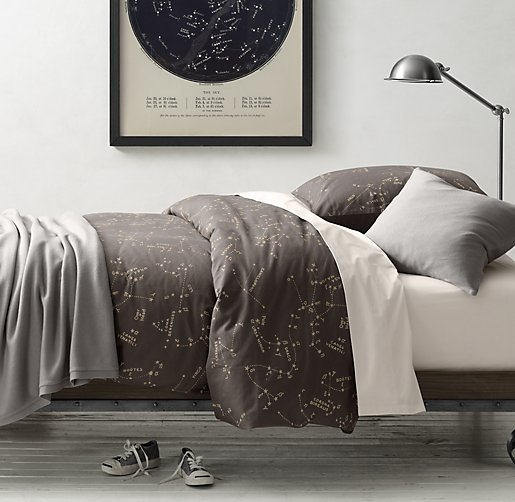 Night Sky & European Vintage-Washed Percale Bedding Collection
