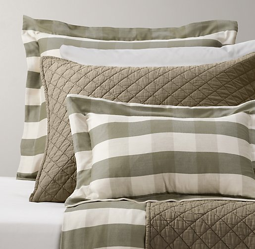 Windsor Plaid & European Vintage-Washed Percale Bedding Collection