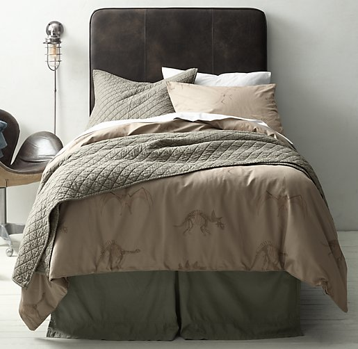Dinosaur Fossil & European Vintage-Washed Percale Bedding Collection