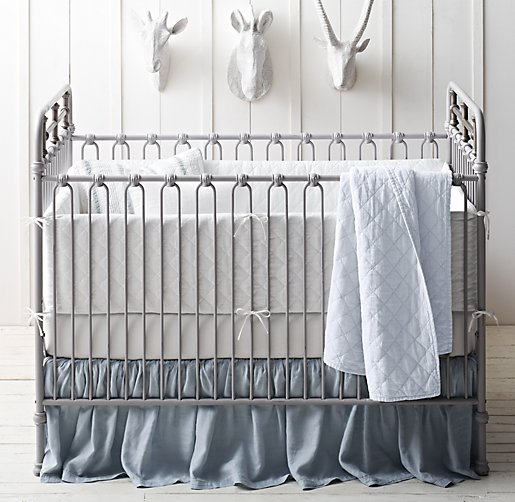 Garment-Dyed Diamond Quilted & Linen Nursery Bedding Collection
