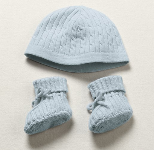 Cable Knit Cashmere Hat & Bootie Set