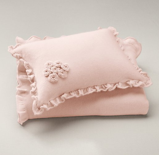 Ruffled Cashmere Stroller Blanket & Pillow Set