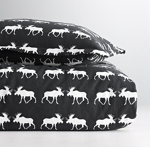 European Moose Print Flannel Duvet Cover