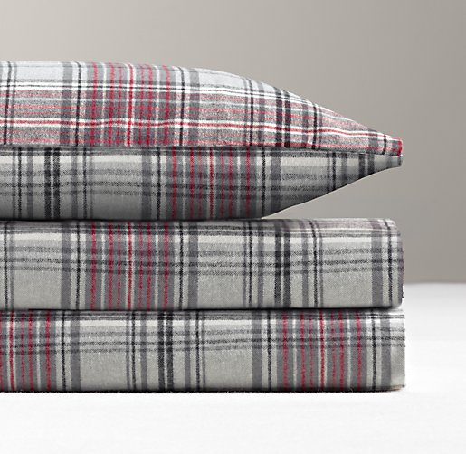European Cabin Plaid Flannel Pillowcase