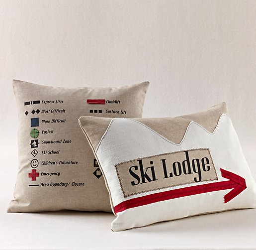 Appliqué Ski Decorative Pillow Cover & Insert