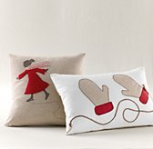 Appliqué Red Holiday Pillow Cover & Insert