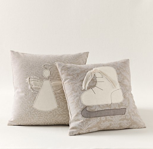 Appliqué Ivory Holiday Pillow Cover & Insert