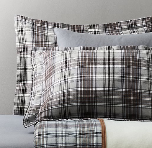 European Cabin Plaid Flannel & European Solid Flannel Bedding Collection