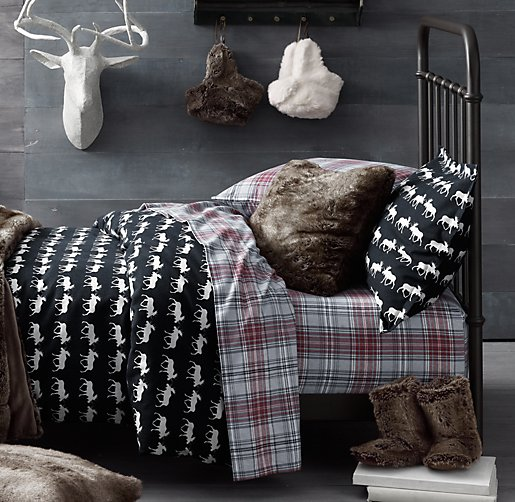 European Moose Print & European Cabin Plaid Flannel Bedding Collection
