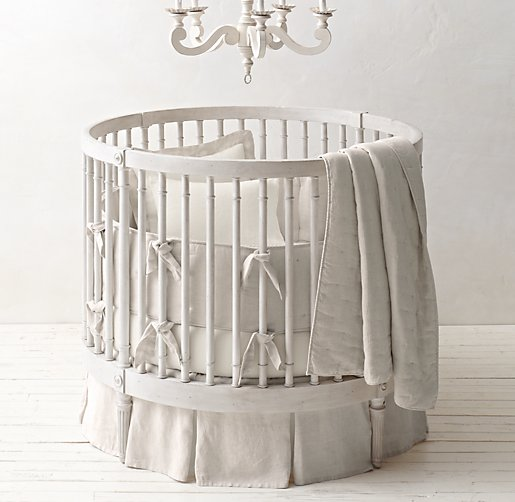 Washed Organic Linen Round Crib Skirt