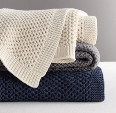 Knitting Patterns For Bed Throws : Chunky Cotton Knit Throw