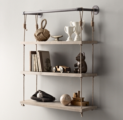 Industrial Pipe Amp Rope Shelf 36 Quot Weathered White