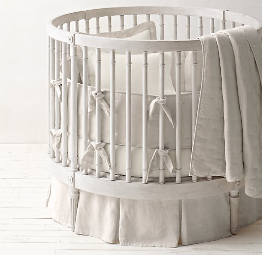 Washed Organic Linen Round Nursery Bedding Collection