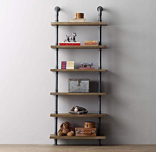 industrial pipe shelving. Black Bedroom Furniture Sets. Home Design Ideas