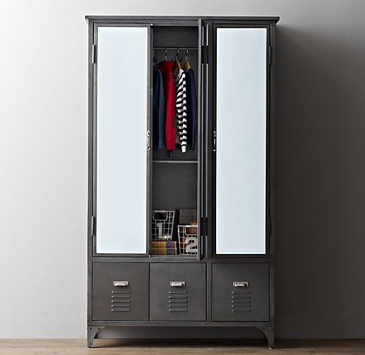 vintage locker mirrored armoire. Black Bedroom Furniture Sets. Home Design Ideas
