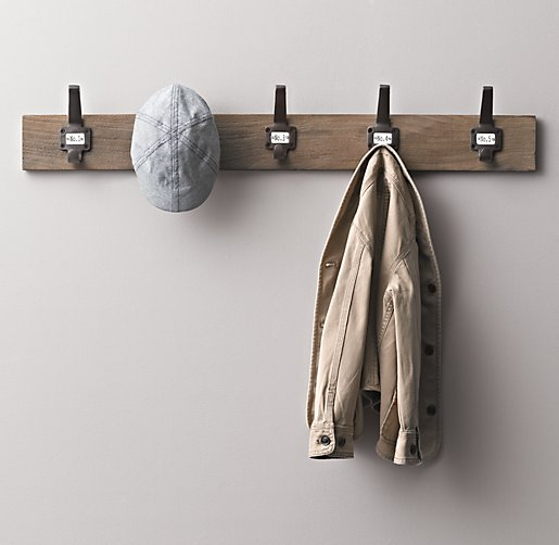 Vintage Schoolhouse Wall Hook Rack
