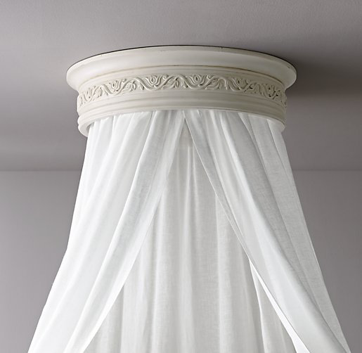 Heirloom White Carved Wood Canopy Ceiling Bed Crown