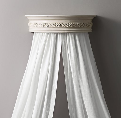 heirloom white demilune carved wood canopy bed crown