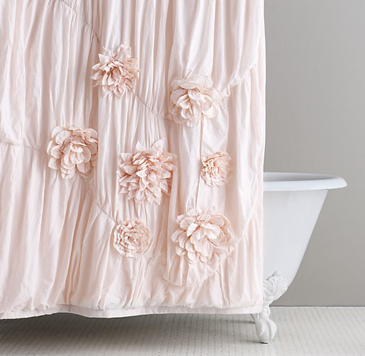 Washed Appliqu 233 D Fleur Shower Curtain