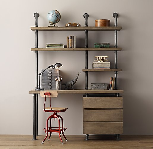 Industrial pipe single desk shelving with drawers for Industrial pipe desk