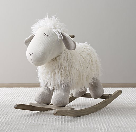 Wooly Plush Animal Rocker Lamb