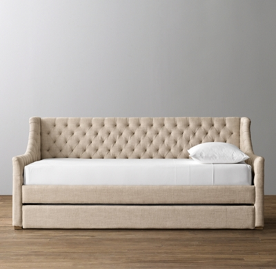 Devyn Tufted Daybed With Trundle Weathered Oak