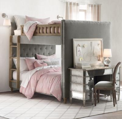- Chesterfield Tufted Velvet Full-Over-Full Bunk Bed