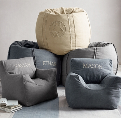 Distressed Canvas Bean Bag Chair Cover
