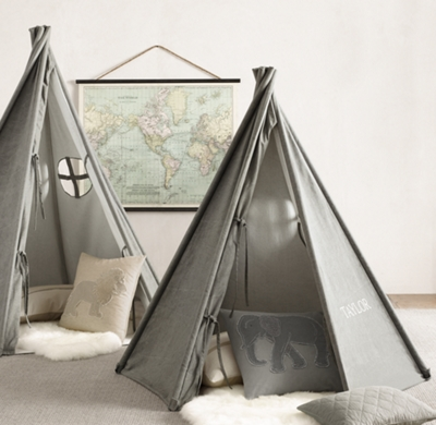 & Distressed Canvas Play Tent - Charcoal