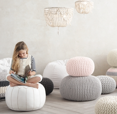 Knit Cotton Round Pouf Dove