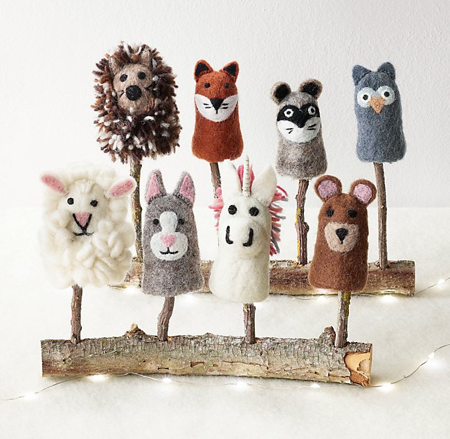 Woodland Animals Finger Puppet with Carry Case
