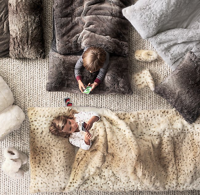 466f171071c8 Luxe Faux Fur Sleeping Bag - Snow Leopard. COLOR PREVIEW UNAVAILABLE.  Alternate view 1 ...