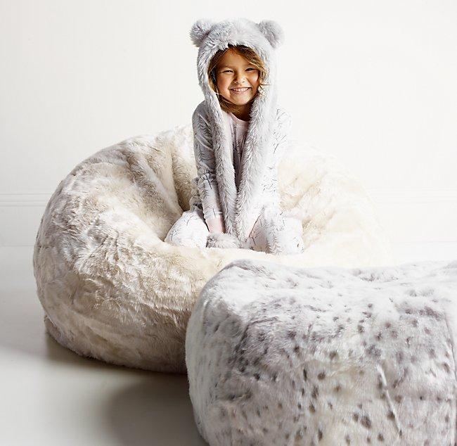 Luxe Faux Fur Bean Bag Arctic Fox Color Preview Unavailable Alternate View 1 2 3