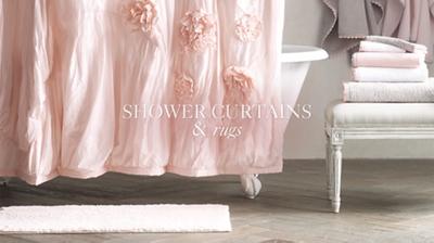 +More Colors. Washed Appliquéd Fleur Shower Curtain