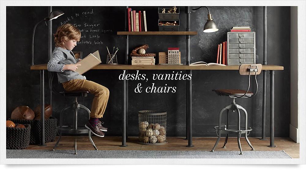 shop desks, vanities & chairs