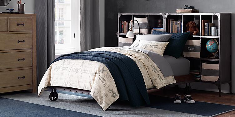 industrial cart platform bed - Boy Bedroom