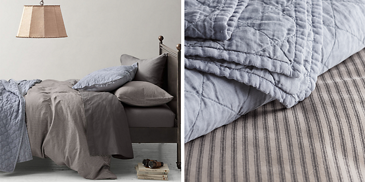 Garment-Dyed Ticking Stripe Bedding Collection | RH Baby & Child : ticking quilt - Adamdwight.com