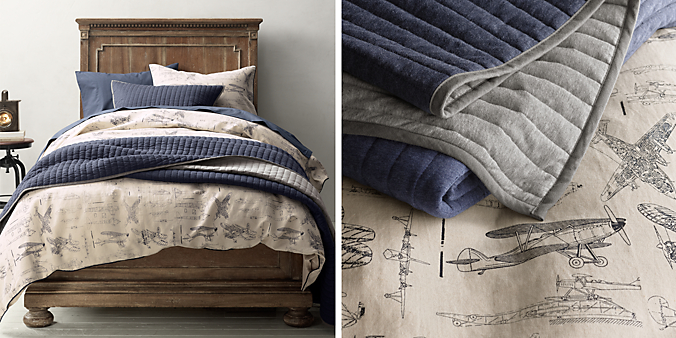 Vintage Airplane Blueprint Bedding Collection